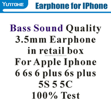 Wholesale 3.5mm Bass Sound Quality Earphones With Remote Mic Volume Control For iPhone 5G 6G 6Plus 100% Test