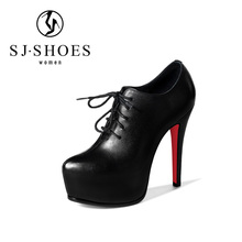 D123 China wholesale fashion red bottom platform high heels shoes for women with shoelace