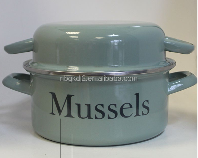 French enamel mussel pot with color coating for europe market (21cm/22cm size) carbon steel