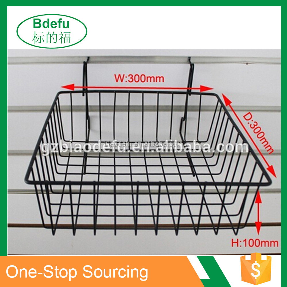 Black metal wire hanging baskets /Metal wire golf basket / Black metal basket for gridwall