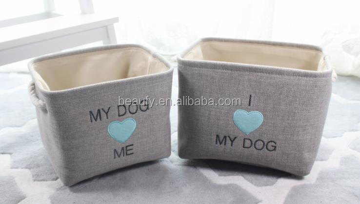 canvas storage bins with cutsomer embro deisgn