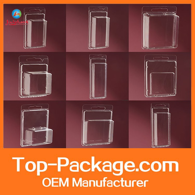 2016 wholesale plastic clamshell blister packaging with printed cardboard
