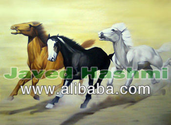 Beautiful Running Horses Oil Canvas Painting