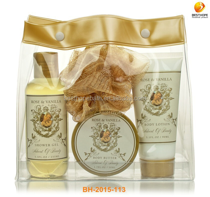 Vanilla Scented Gold Travel Bag Angel Bath Gift Set
