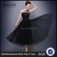 MGOO Black Cocktail Dress For Ladies Dot Volie One Shoulder Ball Gown Prom Formal Homcoming Dress Dinner Day mw1042