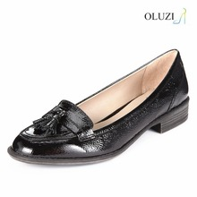 OLZP004 alibaba chinas shoes women size 35-42 wooden low heel round toe patent leather upper evening shoes for women summer 2016