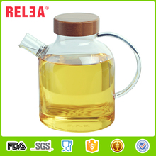 RELEA Heat-resistant custom printed small pyrex glass teapot with bamboo lid and stainless steel infuser 500ml stocked