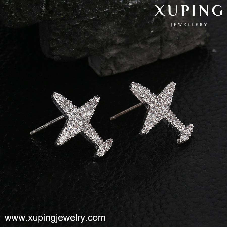93740-wholesale fashion jewelry airplane shaped earrings