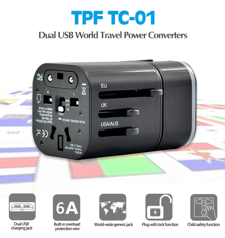 TPF Two USB Detachable Universal 4 in 1 World Travel Charger