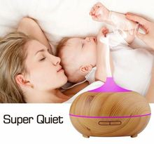300ml wood grain diffuser ultrasonic aroma diffuser electric air humidifier mist maker fogger with colorful LED light
