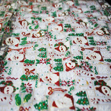 printed Santa Claus and Christmas tree organza fabric with glitter for christmas decoration