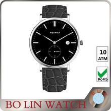 water resistant quartz watches 3 bar, leather quartz wristwatches, custom chronograph watches