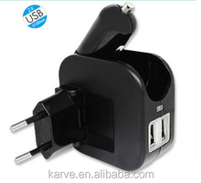 multi-functional foldable portable 2 in 1 EU usa au uk plug wall charger +car charger set combo 2.1A