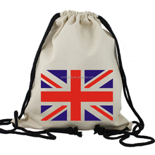 custom UK flag muslin cotton drawstring bag