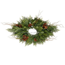 Cheap Christmas Tinsel Wreath for candle decoration