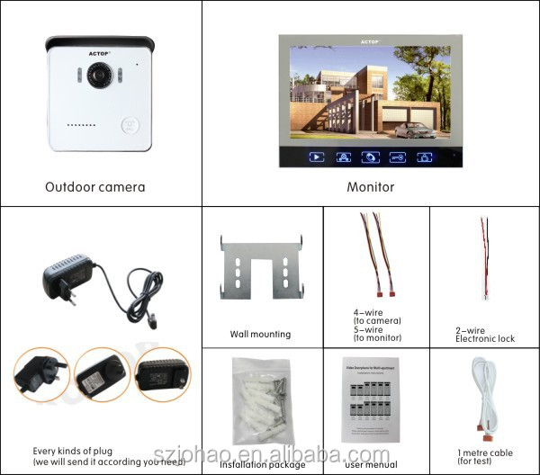 Shenzhen factory ACTOP wired multi apartment video door phone intercom system