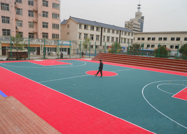 Outdoor interlocking synthetic basketball court flooring