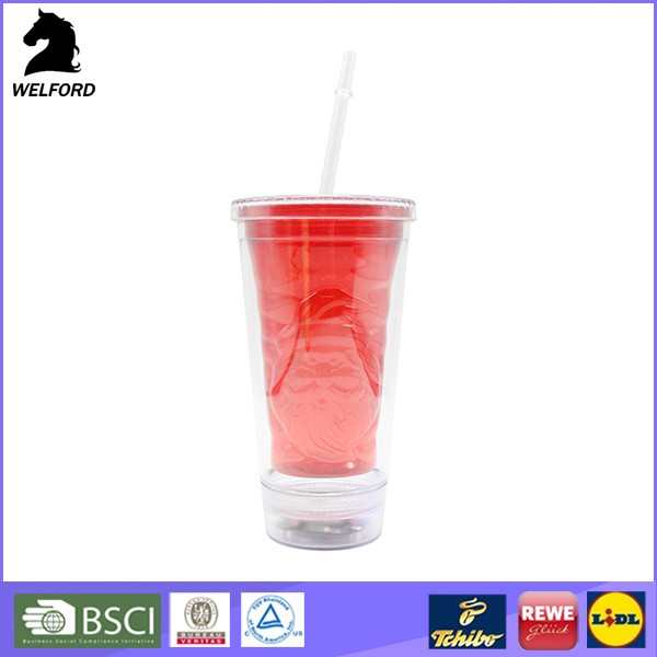 LED light 20 OZ Tritan BPA Free power coating Health Fruit Juice double wal tumbler with starw