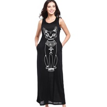 2017 New Cat Printed Casual Maxi Dress Long Women Dresses Bodycon Summer Dress Plus Size Vestidos Women Clothing