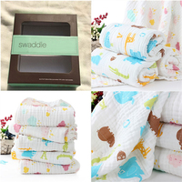 Muslin swaddle baby blanket fabric custom printed 100% cotton towel heavy blanket