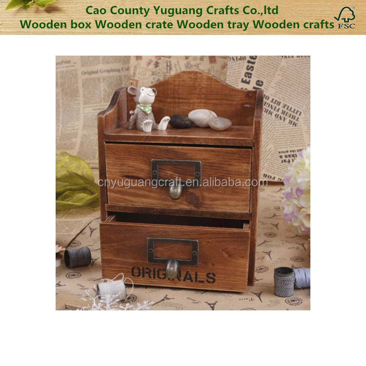 2 Layers Retro Old Style Trinket Box Unique Handcraft Wooden Boxes Case Multipurpose Storage Cabinet With 2 Drawers And Metal Ha