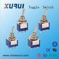 6 pin 3a 12v 3-way toggle switch / miniature dpdt toggle switch / mini toggle switch china supplier