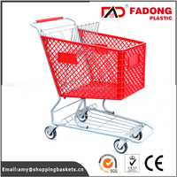promotional mini supermarket plastic trolley with metal stand