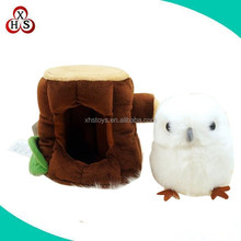 stuffed small cute plush owl toy with tree root for sale