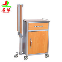 hospital furniture adjustable medical bed side table Advanced material bedside cabinet with wheels Drawer chef Operation board