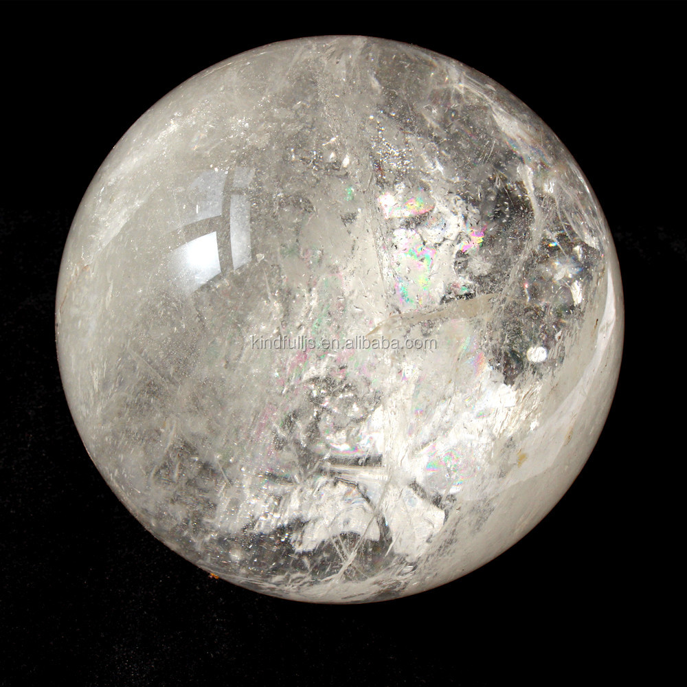 100mm-300mm natural carved clear white snow quartz crystal stone ball for sale