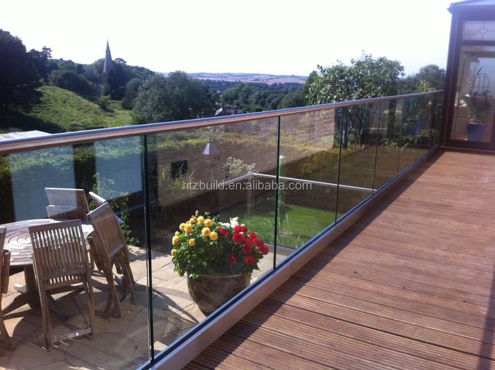 stainless steel balustrade post and glass balustrade channel