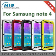 Love Mei Phone case for samsung galaxy note 4 Shockproof Waterproof Rugged Gorilla Metal Case 5 colors