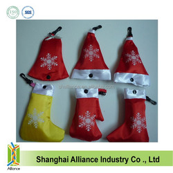 Xmas/Christmas Santa Hat/ Bell / Stocking Folding Bag Promotion Foldable Tote Bags