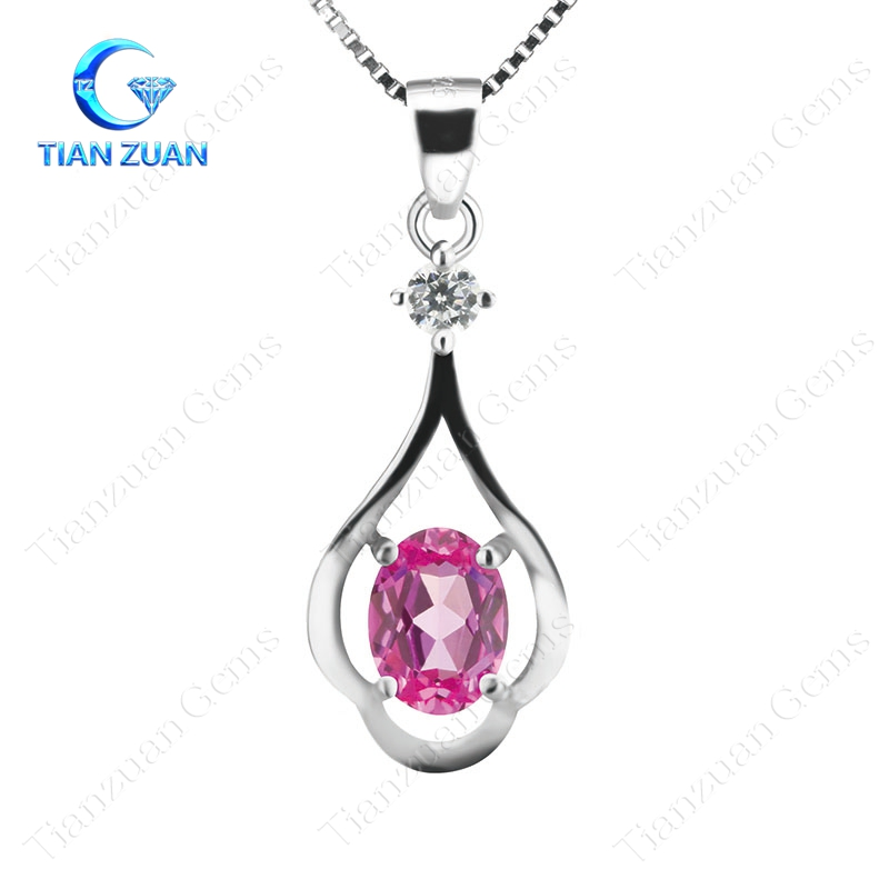 oval shape pink color cz gemstone for pendant with 925 sliver necklace