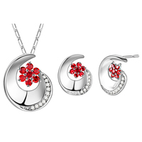 fashion flower silver plated jewelry set for women jewellery wholesale