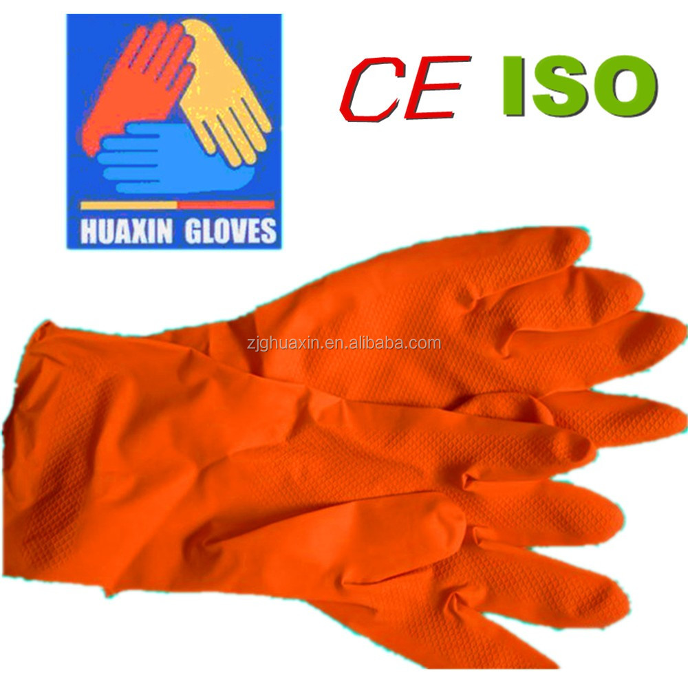wholesale duable thick industrial household rubber latex protective gloves