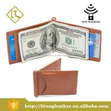 Personalized Genuine Leather money clip wallet with RFID blocking