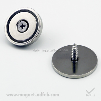 Neodymium Pot Magnets with Countersunk Hole, Mounting Screws