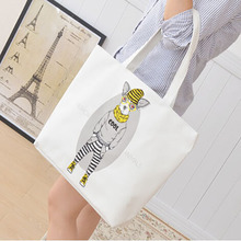 Korea Women Long Strap Mr. dog Shopping Canvas Shoulder Bag