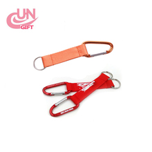 Cheap custom polyester printed carabiner keychain short strap
