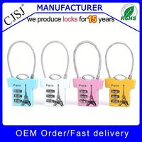 Professional more styles cable padlock cipher lock wholesale