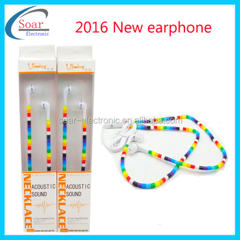 2016 new style in Ear Earphone,universal bass eaphone,colorful necklace handsfree