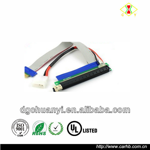 PCI E riser cable 1x to 16x with molex connector manufacturer china