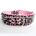 Cheap 3 rows spiked leopard collars for dogs,dog products,spiked collars
