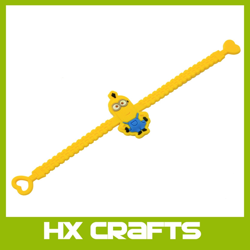 New promotion bracelets Soft PVC Minions Bracelets cartoon yellow bracelet
