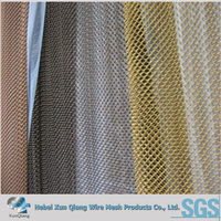 Copper color fireplace mesh screen curtain