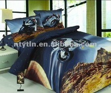 cool motorcycle pattern 100% cotton reactive printed bed linen for boys