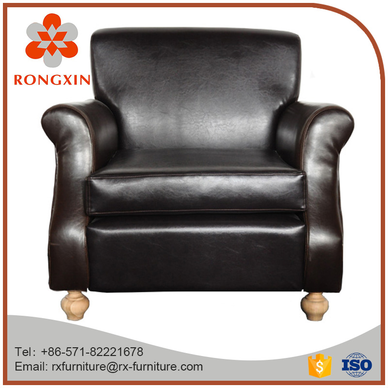 Luxury PU Leather Wooden One Seat Sofa with Armrests
