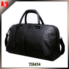 High quality ostrich skin leather duffel shoulder bag bags for men