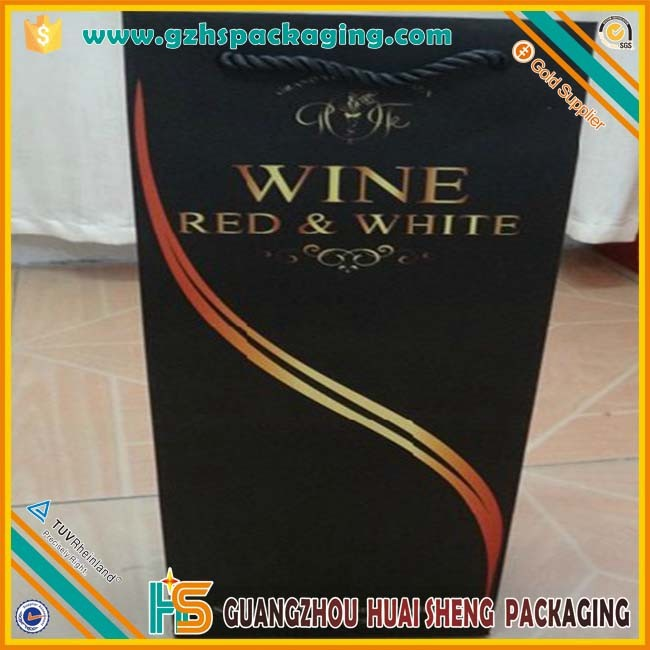 Accept Custom Order High quality Wine Bottle Gift Paper Bag with String Handle